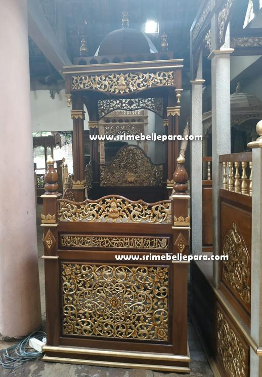 Mimbar Masjid Ukiran Jati Jepara kayu solid Perhutani