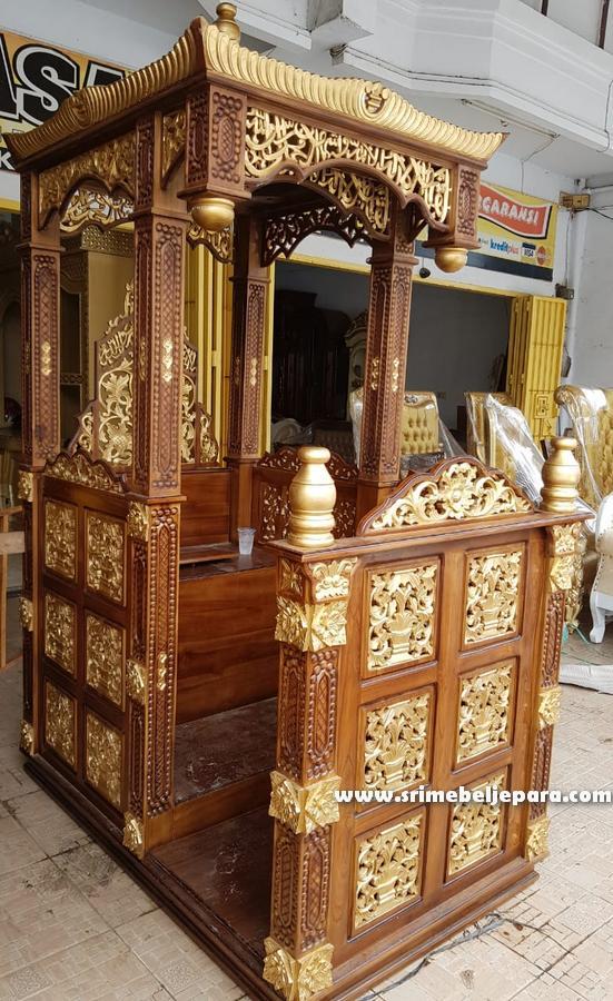 mimbar masjid Jepara Ukiran Full tiang