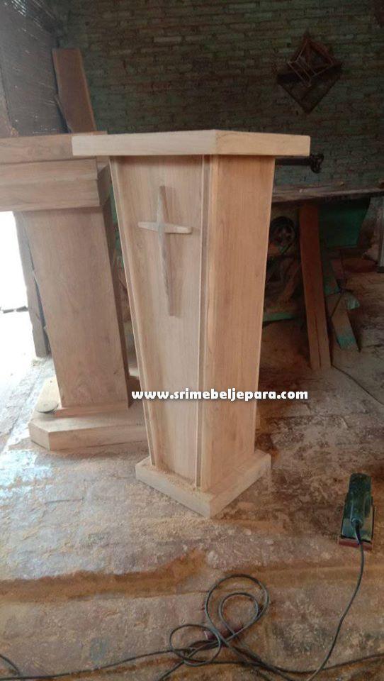 mimbar gereja kristen minimalis kayu jati jepara