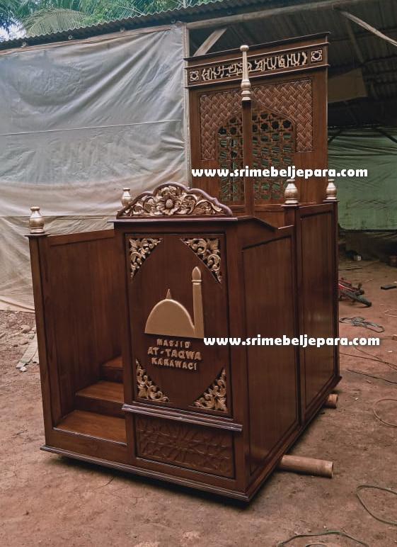 Mimbar Masjid Minimalis Jati Jepara Terbaru Model Kencana