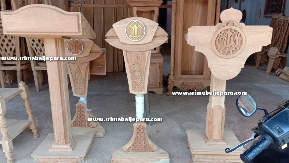 mimbar masjid minimalis sederhana kayu jati