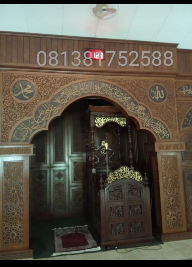 mihrab masjid kayu jati perhutani